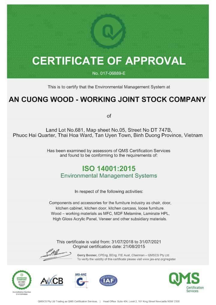 Chứng nhận môi trường ISO 14001-2015