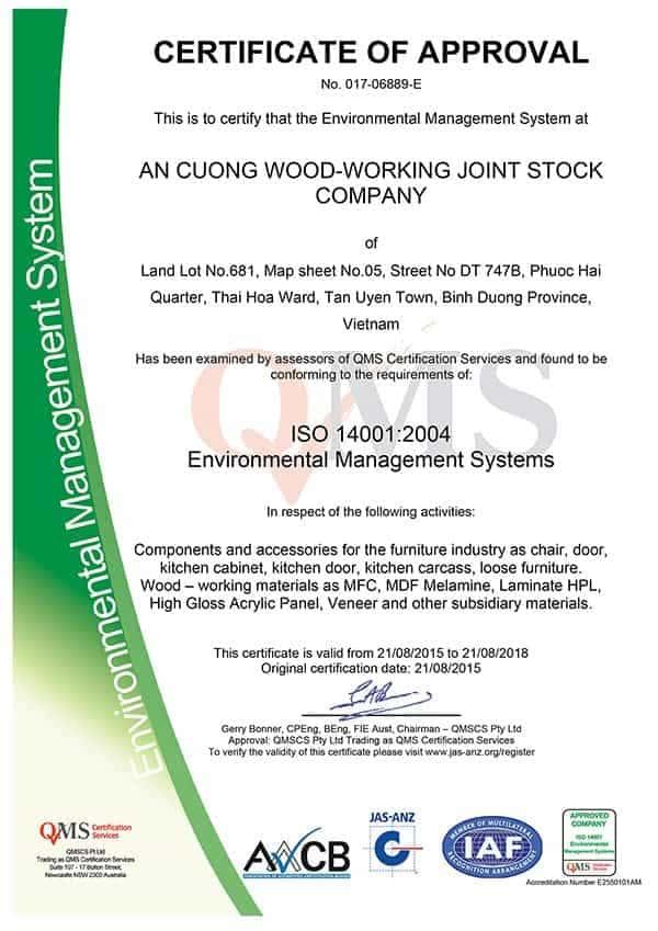 Chứng nhận môi trường ISO 14001:2004